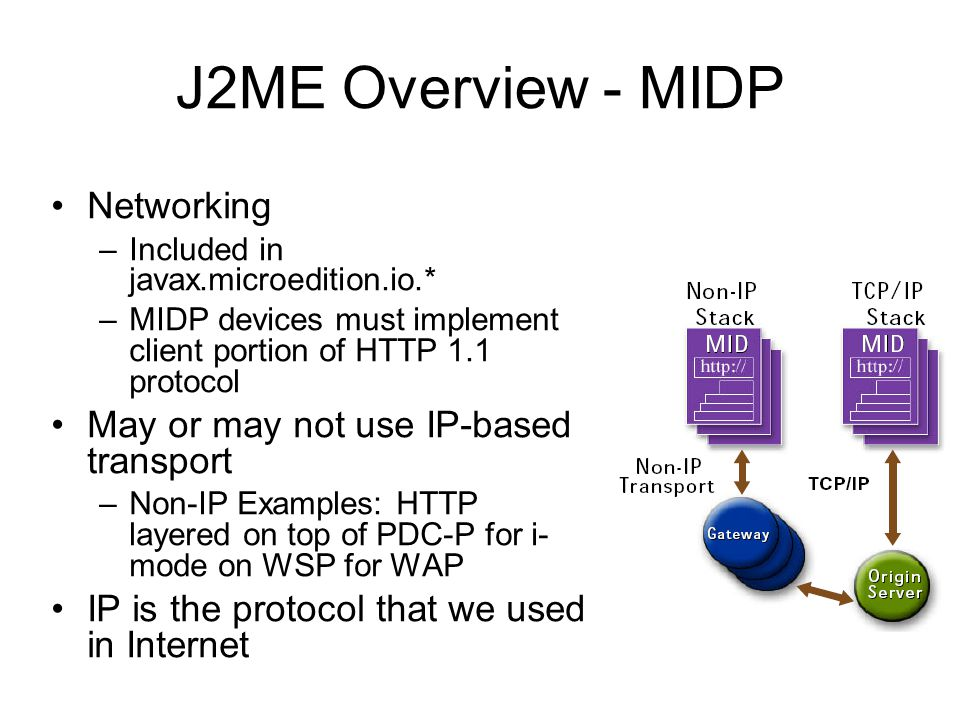 J2ME Overview - MIDP Networking –Included in javax.microedition.io.* –MIDP devices must implement client portion of HTTP 1.1 protocol May or may not u