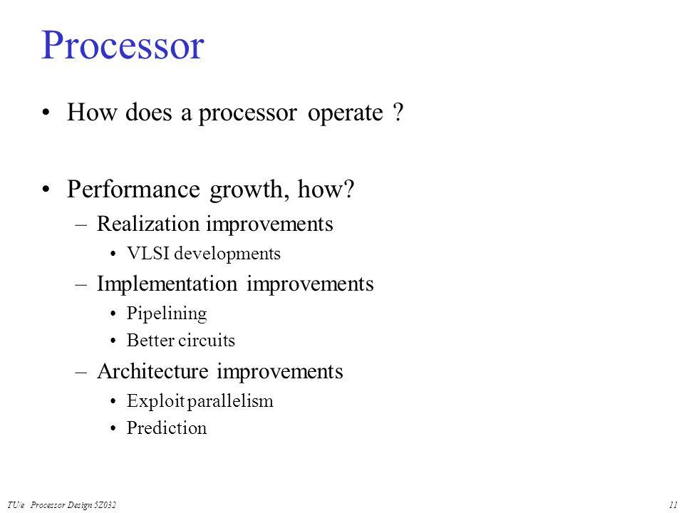 TU/e Processor Design 5Z03211 Processor How does a processor operate ? Performance growth, how? –Realization improvements VLSI developments –Implement