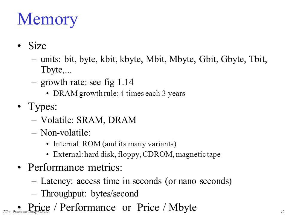 TU/e Processor Design 5Z03212 Memory Size –units: bit, byte, kbit, kbyte, Mbit, Mbyte, Gbit, Gbyte, Tbit, Tbyte,... –growth rate: see fig 1.14 DRAM gr