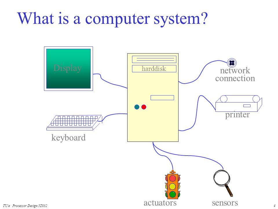 TU/e Processor Design 5Z0324 What is a computer system? Display keyboard printer harddisk network connection actuatorssensors
