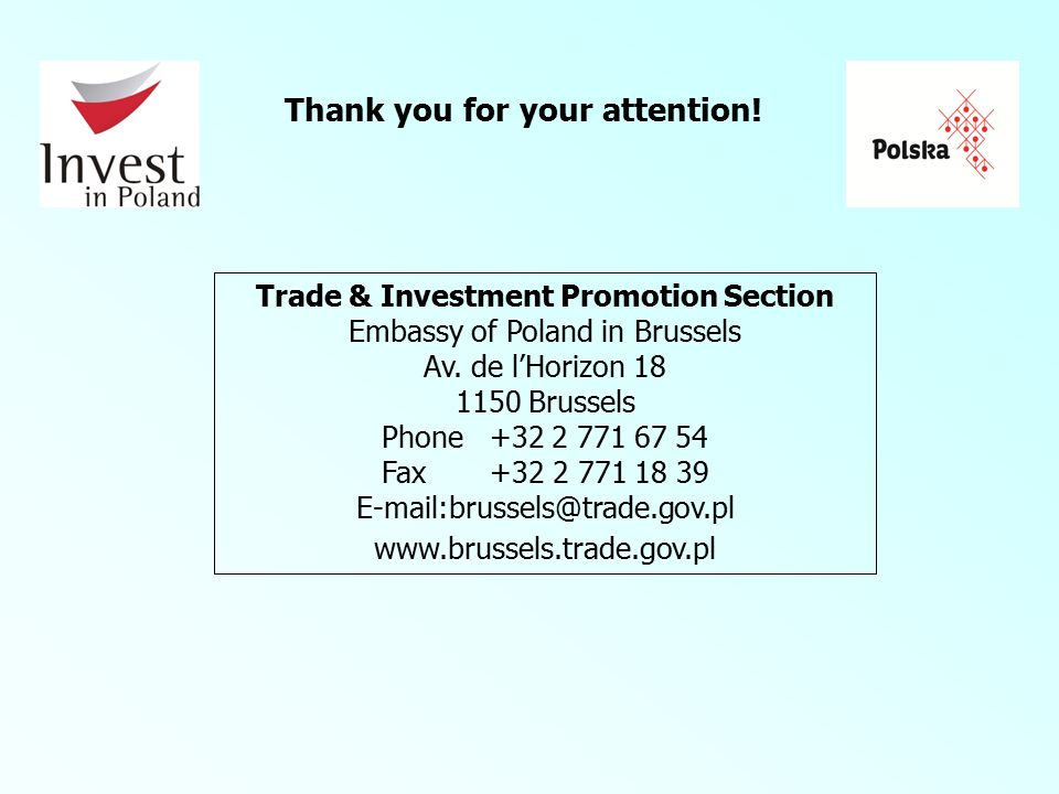 Trade & Investment Promotion Section Embassy of Poland in Brussels Av.