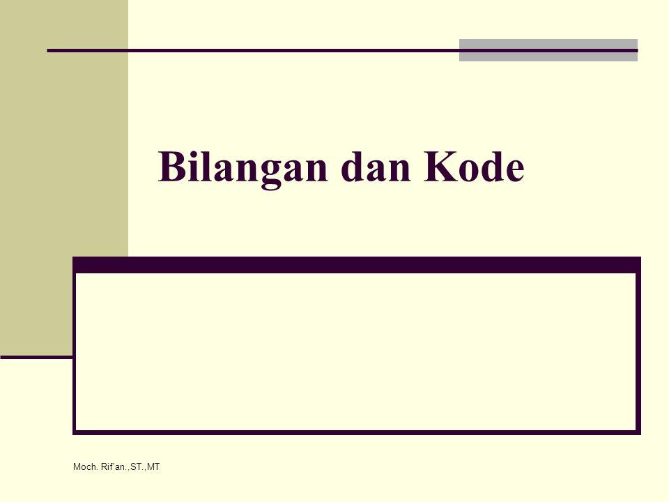 Moch. Rif an.,ST.,MT Bilangan dan Kode