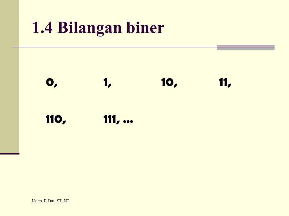 Moch. Rif an.,ST.,MT 1.4 Bilangan biner 0,1,10,11, 110,111, …