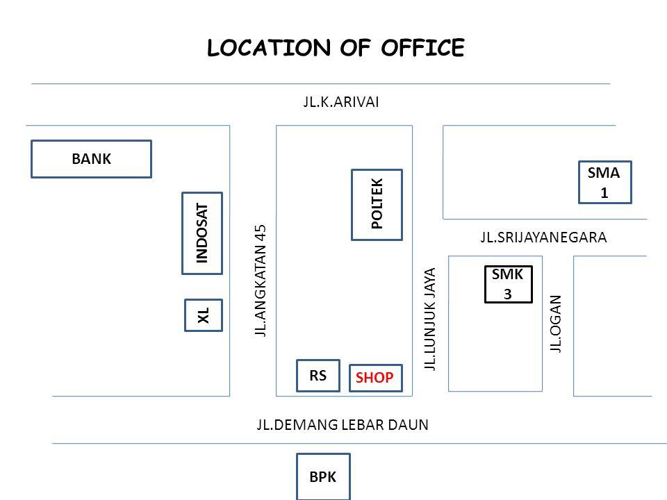 SMK 3 SMA 1 POLTEK RS SHOP BPK INDOSAT XL BANK JL.K.ARIVAI JL.ANGKATAN 45 JL.DEMANG LEBAR DAUN JL.SRIJAYANEGARA JL.OGAN JL.LUNJUK JAYA LOCATION OF OFF