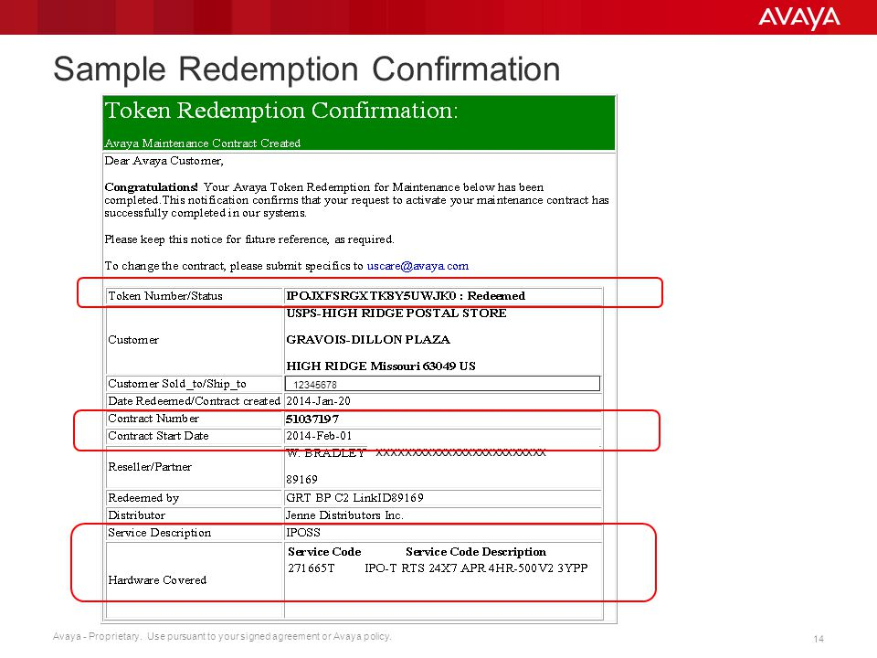 Avaya - Proprietary. Use pursuant to your signed agreement or Avaya policy. 14 Sample Redemption Confirmation xxxxxxxxxxxxxxxxxxxxxxxxx 12345678