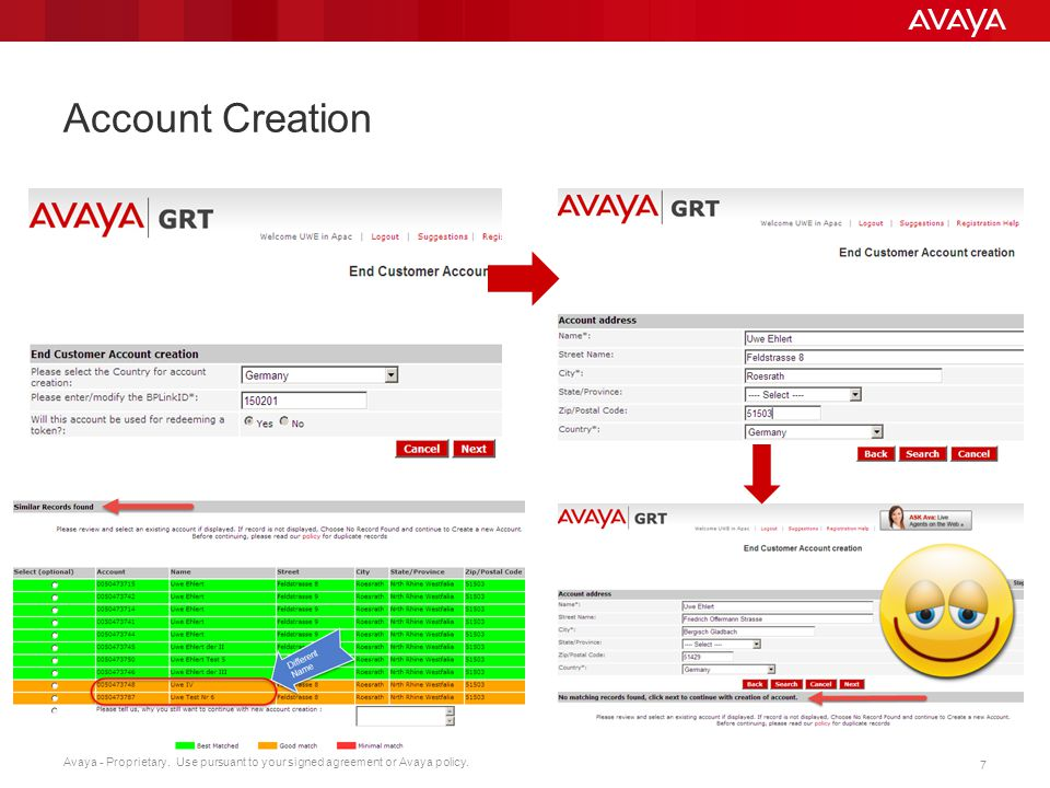 Avaya - Proprietary. Use pursuant to your signed agreement or Avaya policy. 7 Account Creation