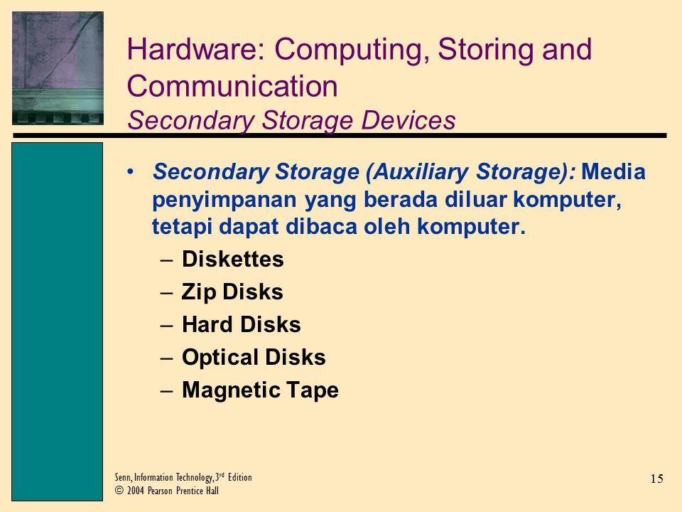 15 Senn, Information Technology, 3 rd Edition © 2004 Pearson Prentice Hall Hardware: Computing, Storing and Communication Secondary Storage Devices Secondary Storage (Auxiliary Storage): Media penyimpanan yang berada diluar komputer, tetapi dapat dibaca oleh komputer.