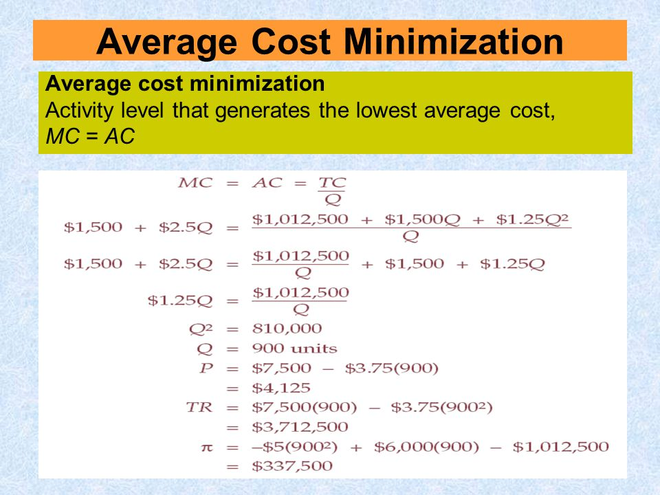 Average Cost Minimization Average cost minimization Activity level that generates the lowest average cost, MC = AC
