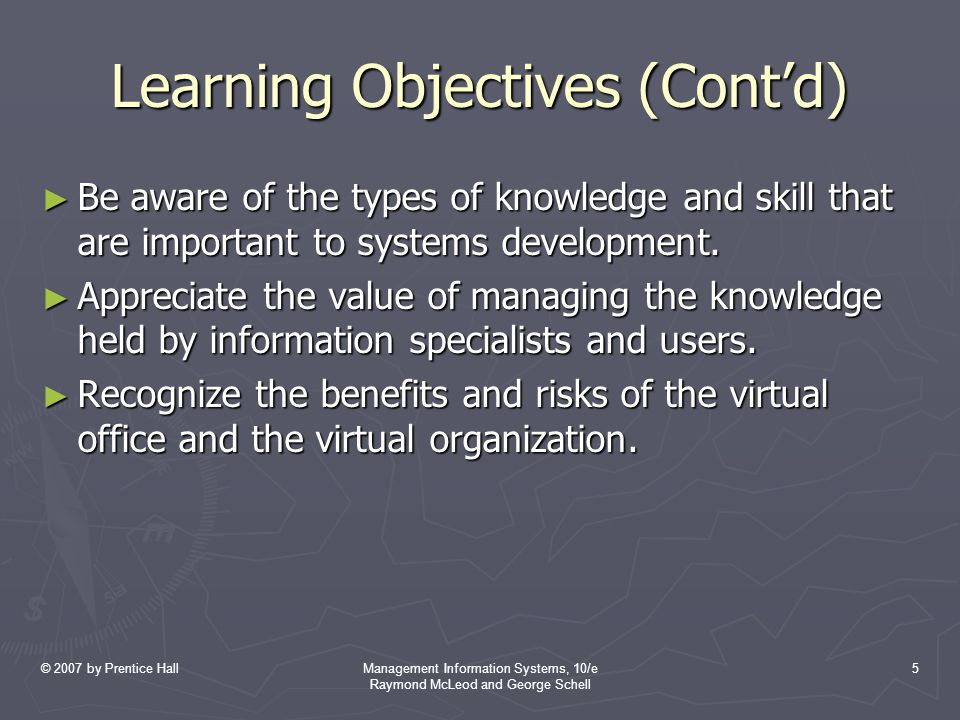 © 2007 by Prentice HallManagement Information Systems, 10/e Raymond McLeod and George Schell 5 Learning Objectives (Cont'd) ► Be aware of the types of knowledge and skill that are important to systems development.