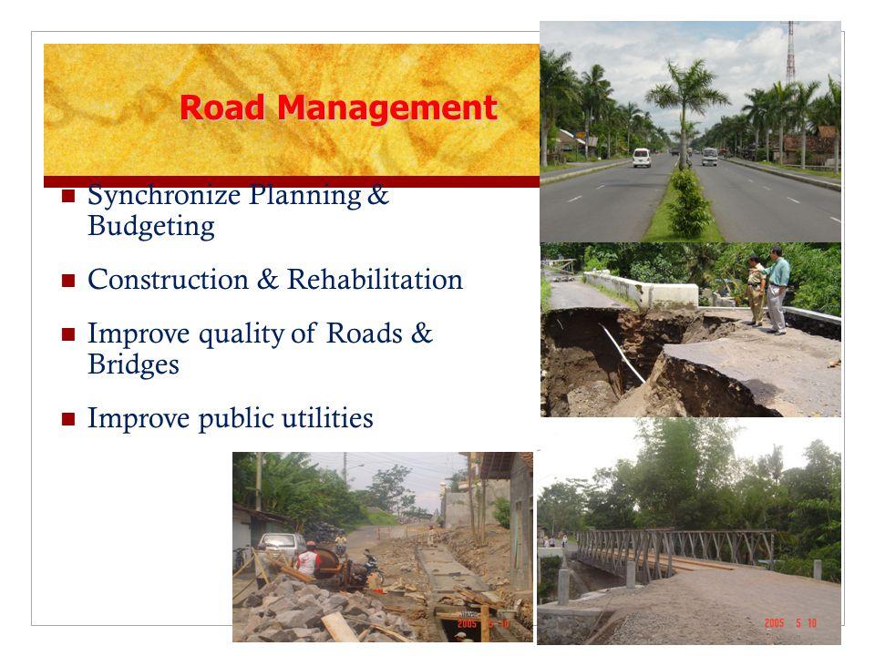Road Management Synchronize Planning & Budgeting Construction & Rehabilitation Improve quality of Roads & Bridges Improve public utilities 18