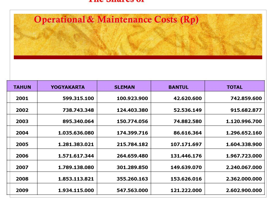 The Shares of Operational & Maintenance Costs (Rp) TAHUN YOGYAKARTA SLEMAN BANTULTOTAL 2001 599.315.100 100.923.900 42.620.600 742.859.600 2002 738.74