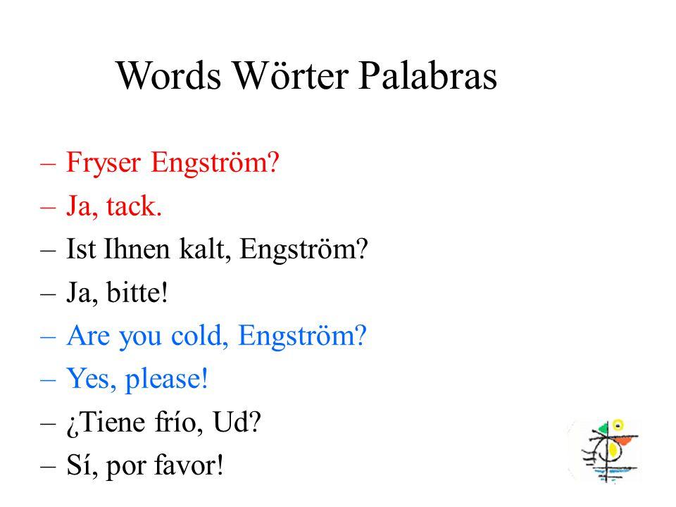 Words Wörter Palabras –Fryser Engström. –Ja, tack.