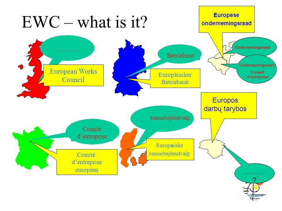 ……… European Works Council Betriebsrat Europäischer Betriebsrat Comité d'entreprise Comité d'entreprise européen Samarbejdsutvalg Europæiske samarbejdsudvalg EWC – what is it.
