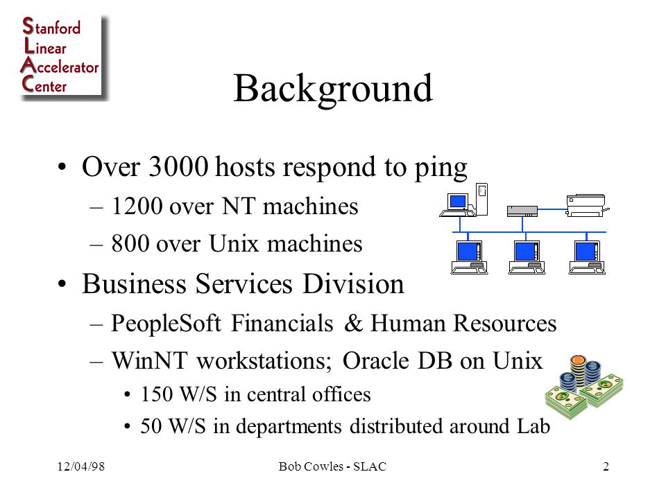 12/04/98Bob Cowles - SLAC2 Background Over 3000 hosts respond to ping –1200 over NT machines –800 over Unix machines Business Services Division –PeopleSoft Financials & Human Resources –WinNT workstations; Oracle DB on Unix 150 W/S in central offices 50 W/S in departments distributed around Lab