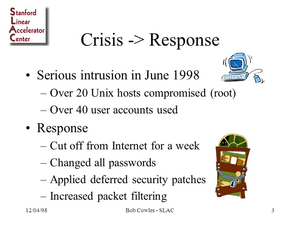 12/04/98Bob Cowles - SLAC3 Crisis -> Response Serious intrusion in June 1998 –Over 20 Unix hosts compromised (root) –Over 40 user accounts used Response –Cut off from Internet for a week –Changed all passwords –Applied deferred security patches –Increased packet filtering