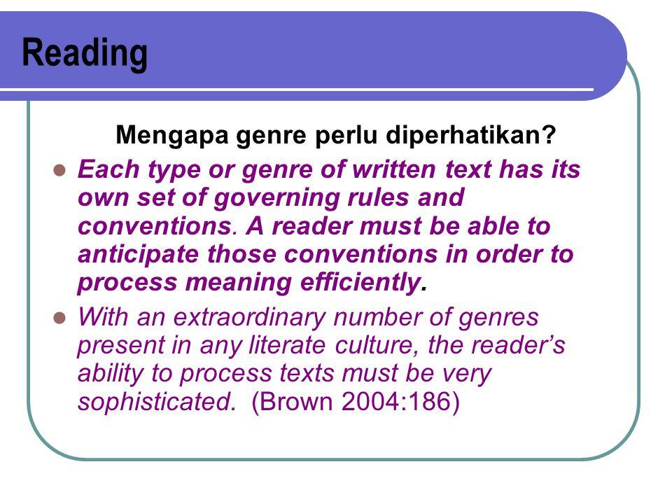Reading Mengapa genre perlu diperhatikan.