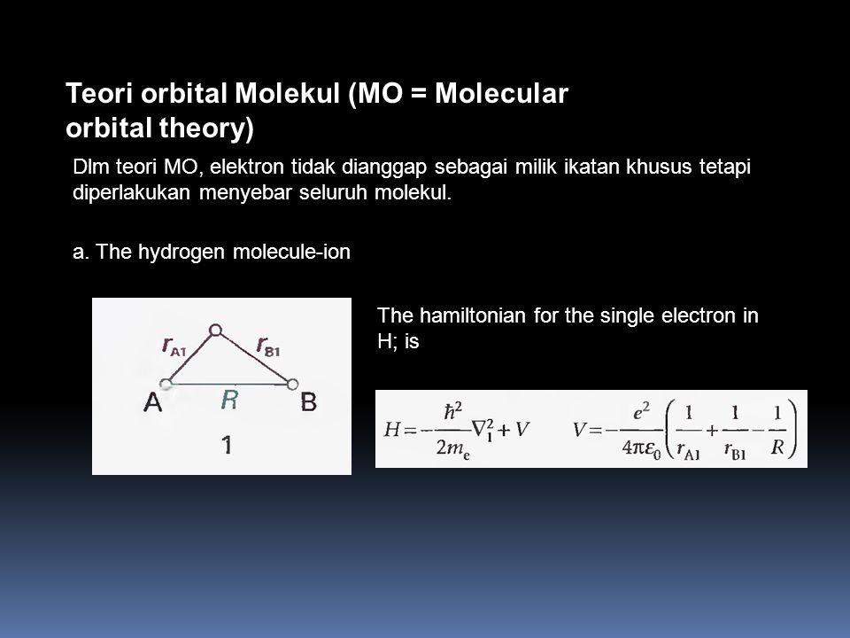 Teori orbital Molekul (MO = Molecular orbital theory) Dlm teori MO, elektron tidak dianggap sebagai milik ikatan khusus tetapi diperlakukan menyebar seluruh molekul.