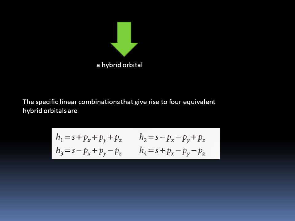 a hybrid orbital The specific linear combinations that give rise to four equivalent hybrid orbitals are