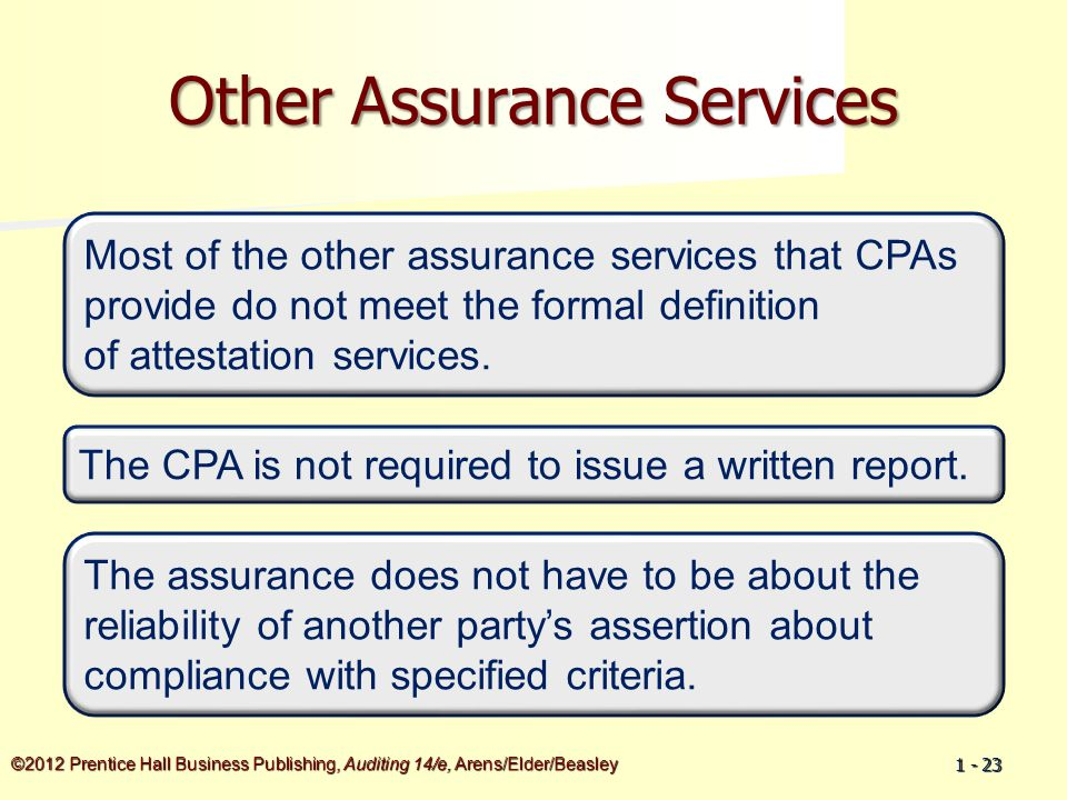 ©2012 Prentice Hall Business Publishing, Auditing 14/e, Arens/Elder/Beasley 1 - 23 Other Assurance Services Most of the other assurance services that