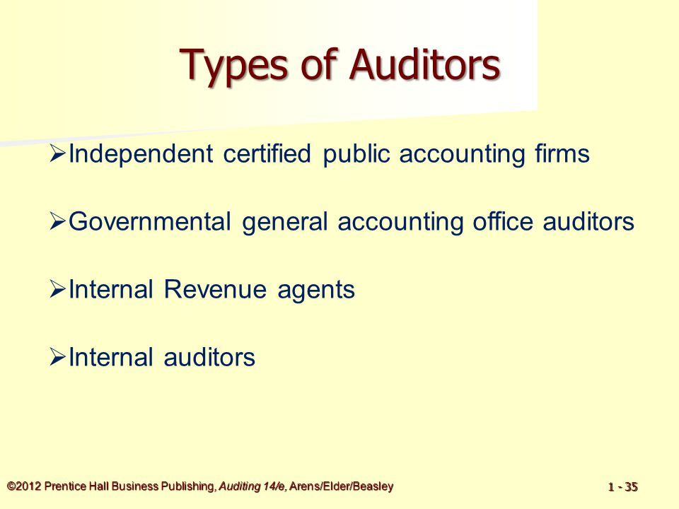©2012 Prentice Hall Business Publishing, Auditing 14/e, Arens/Elder/Beasley 1 - 35 Types of Auditors  Internal auditors  Independent certified publi