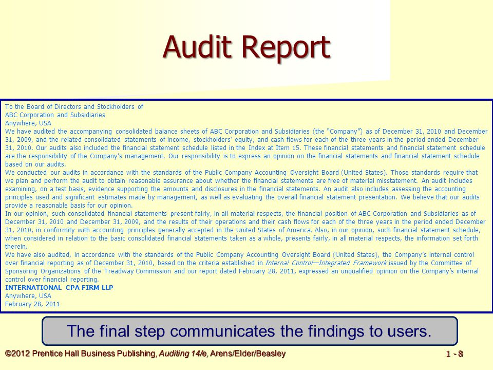 ©2012 Prentice Hall Business Publishing, Auditing 14/e, Arens/Elder/Beasley 1 - 39 CBT-e: The CPA Exam Gets a Makeover New content and skill specification outline revisions.