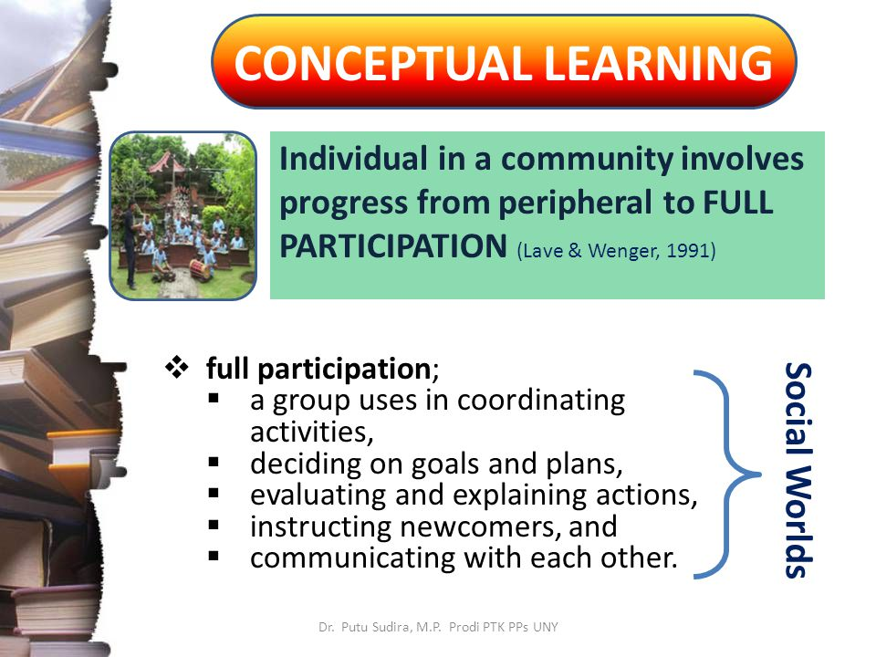 CONCEPTUAL LEARNING Individual in a community involves progress from peripheral to FULL PARTICIPATION (Lave & Wenger, 1991)  full participation;  a group uses in coordinating activities,  deciding on goals and plans,  evaluating and explaining actions,  instructing newcomers, and  communicating with each other.