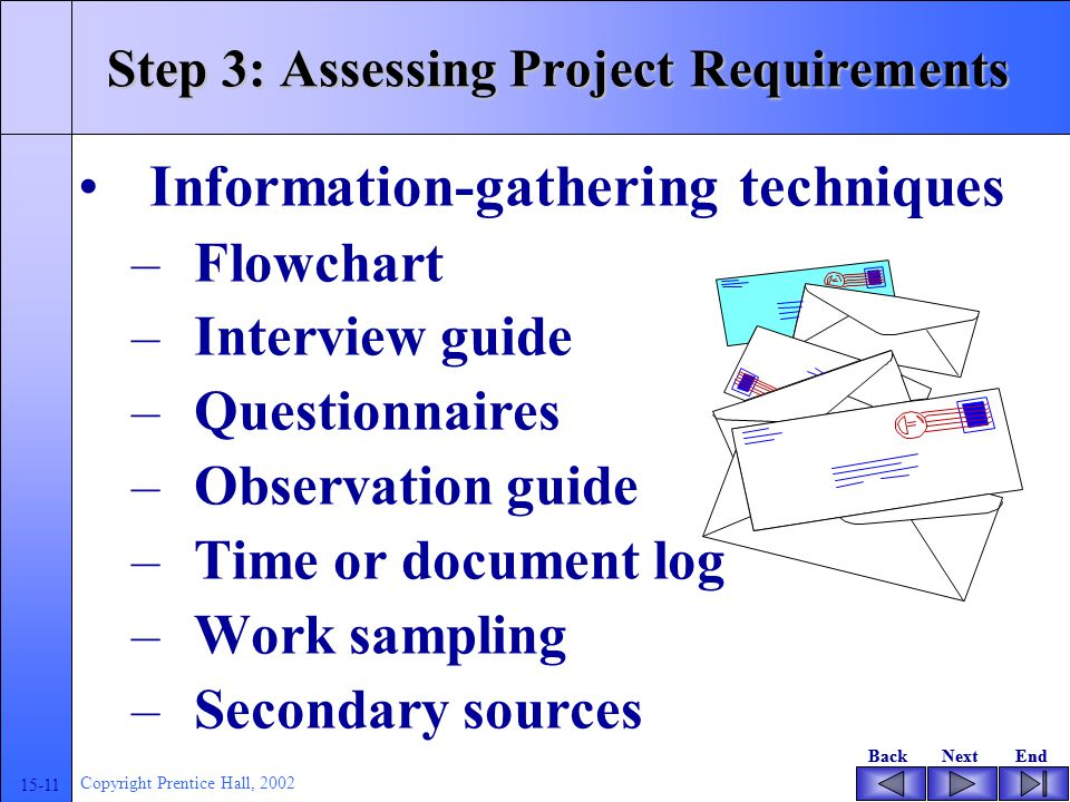 BackNextEndBackNextEnd 15-11 Copyright Prentice Hall, 2002 Step 3: Assessing Project Requirements Information-gathering techniques –Flowchart –Interview guide –Questionnaires –Observation guide –Time or document log –Work sampling –Secondary sources