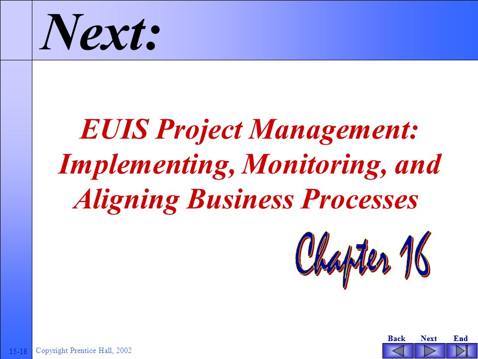BackNextEndBackNextEnd 15-18 Copyright Prentice Hall, 2002 Next: EUIS Project Management: Implementing, Monitoring, and Aligning Business Processes