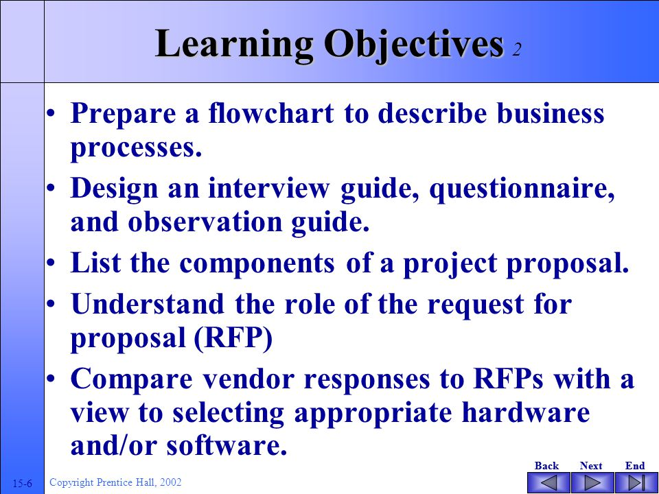 BackNextEndBackNextEnd 15-6 Copyright Prentice Hall, 2002 Learning Objectives Prepare a flowchart to describe business processes.