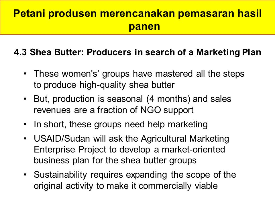 4.3 Shea Butter: Producers in search of a Marketing Plan These women s' groups have mastered all the steps to produce high-quality shea butter But, production is seasonal (4 months) and sales revenues are a fraction of NGO support In short, these groups need help marketing USAID/Sudan will ask the Agricultural Marketing Enterprise Project to develop a market-oriented business plan for the shea butter groups Sustainability requires expanding the scope of the original activity to make it commercially viable Petani produsen merencanakan pemasaran hasil panen