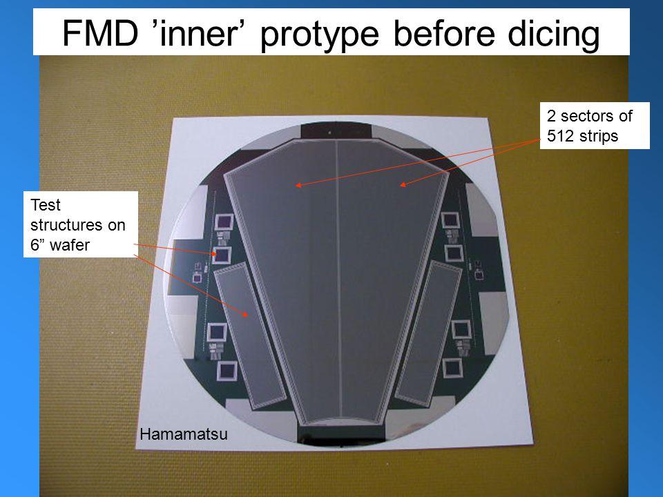 """8-3-05Jens Jørgen Gaardhøje. NBI. ALICE-CR5 3 FMD 'inner' protype before dicing 2 sectors of 512 strips Test structures on 6"""" wafer Hamamatsu"""