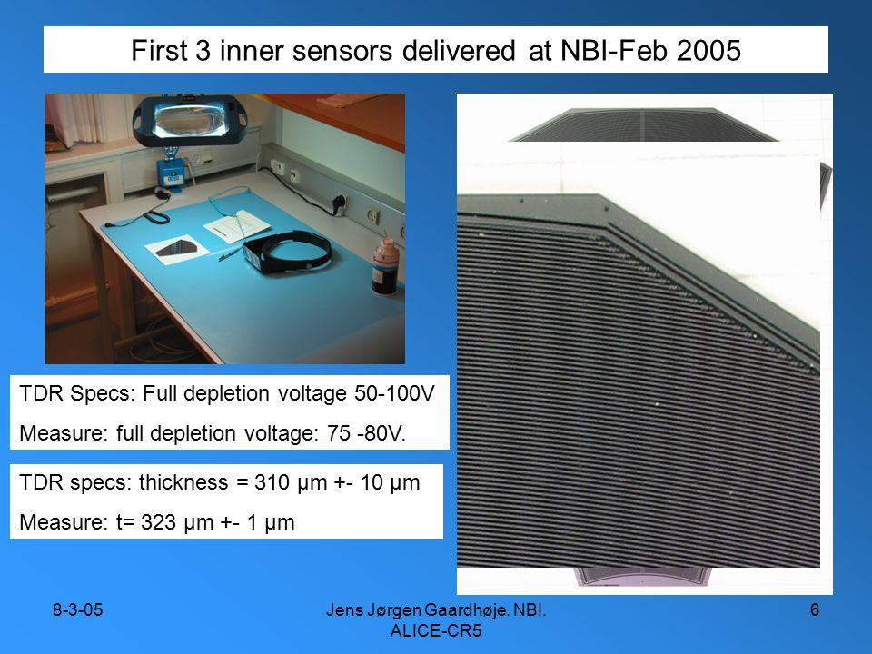 8-3-05Jens Jørgen Gaardhøje. NBI. ALICE-CR5 6 First 3 inner sensors delivered at NBI-Feb 2005 TDR Specs: Full depletion voltage 50-100V Measure: full