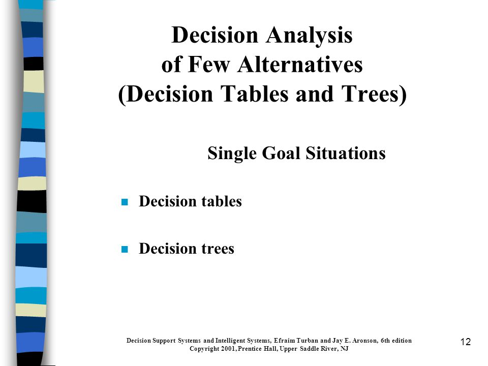 12 Decision Analysis of Few Alternatives (Decision Tables and Trees) Single Goal Situations n Decision tables n Decision trees Decision Support Systems and Intelligent Systems, Efraim Turban and Jay E.