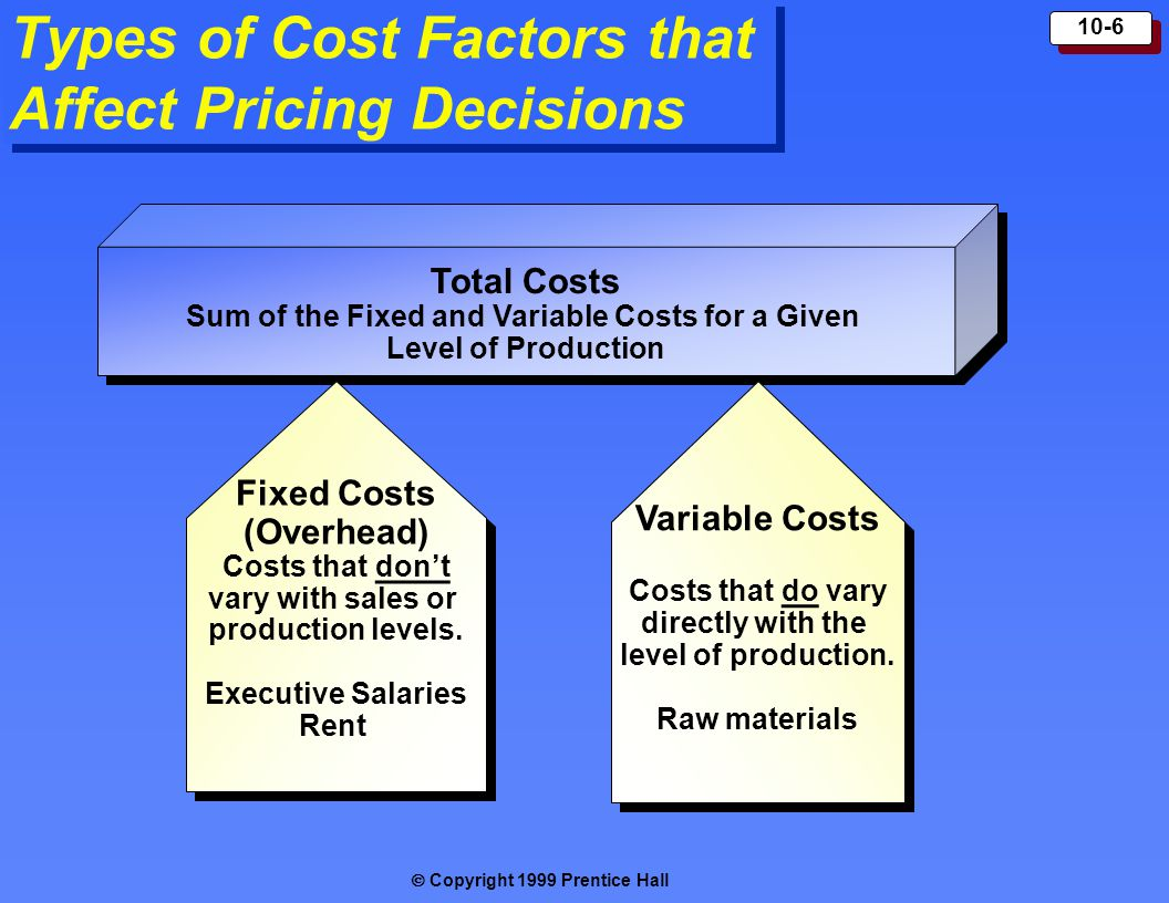  Copyright 1999 Prentice Hall 10-6 Types of Cost Factors that Affect Pricing Decisions Total Costs Sum of the Fixed and Variable Costs for a Given L