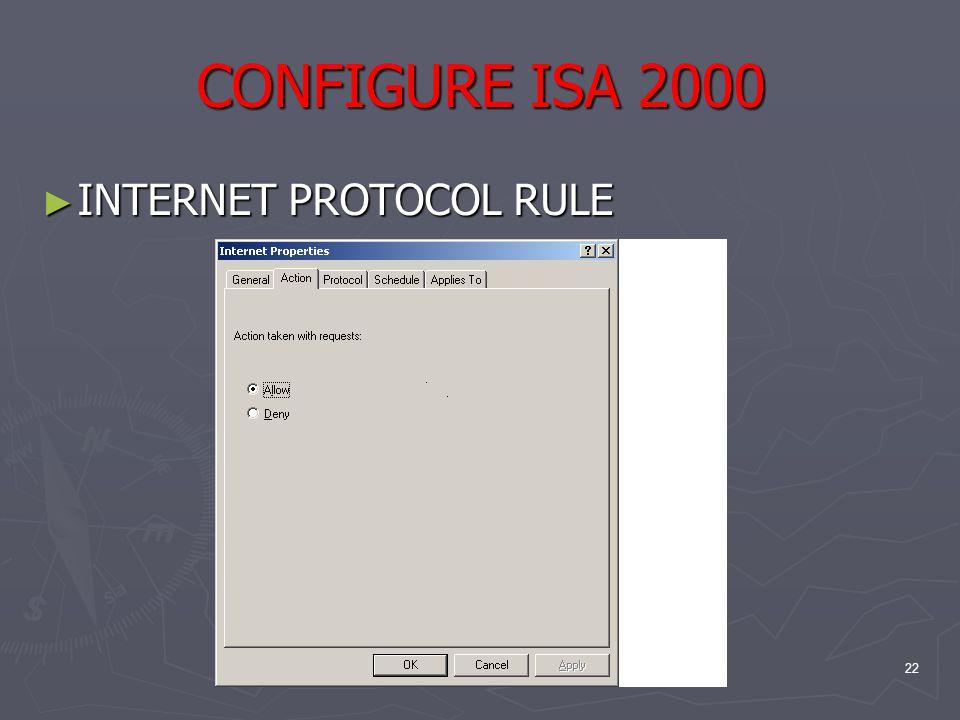 22 CONFIGURE ISA 2000 ► INTERNET PROTOCOL RULE