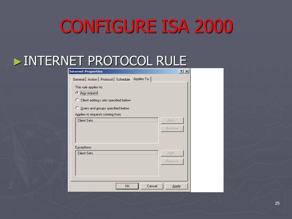 25 CONFIGURE ISA 2000 ► INTERNET PROTOCOL RULE