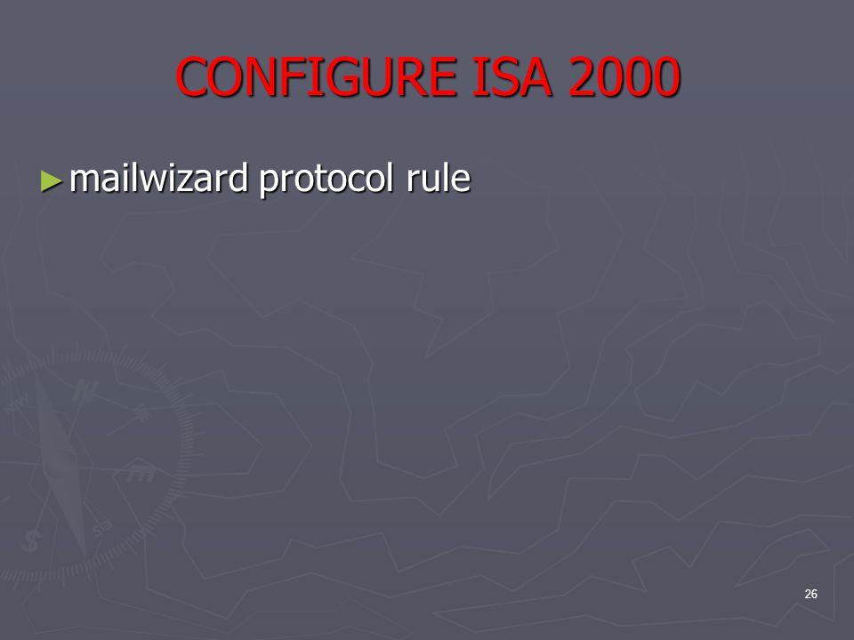 26 CONFIGURE ISA 2000 ► mailwizard protocol rule