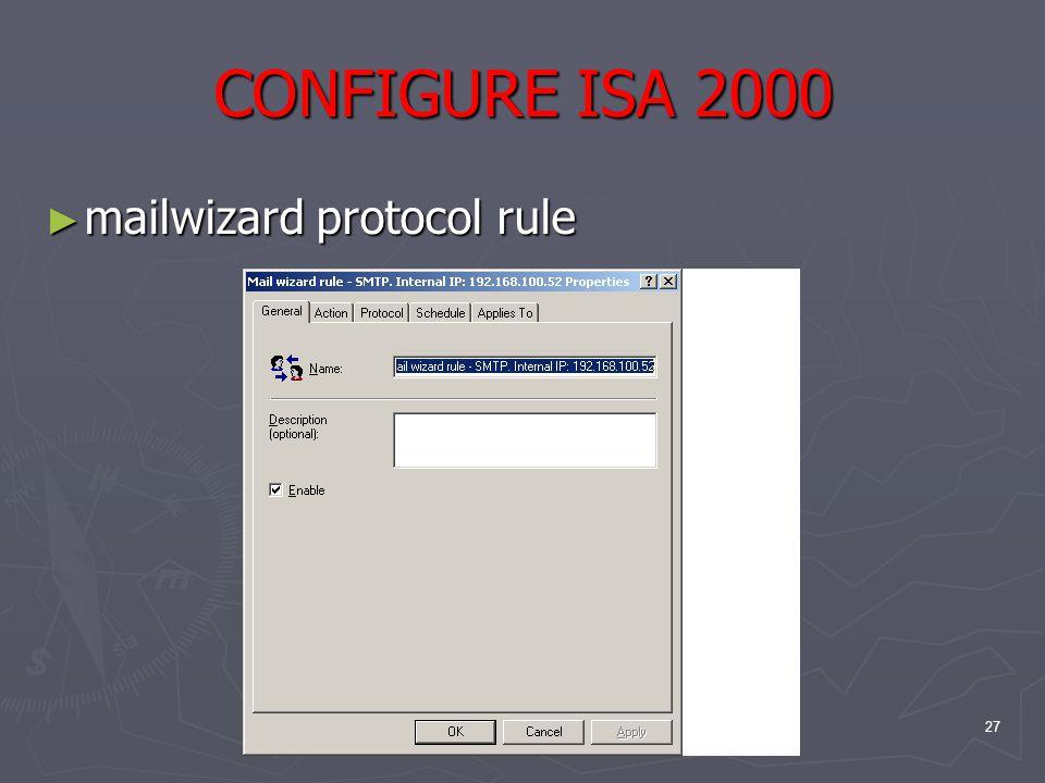 27 CONFIGURE ISA 2000 ► mailwizard protocol rule