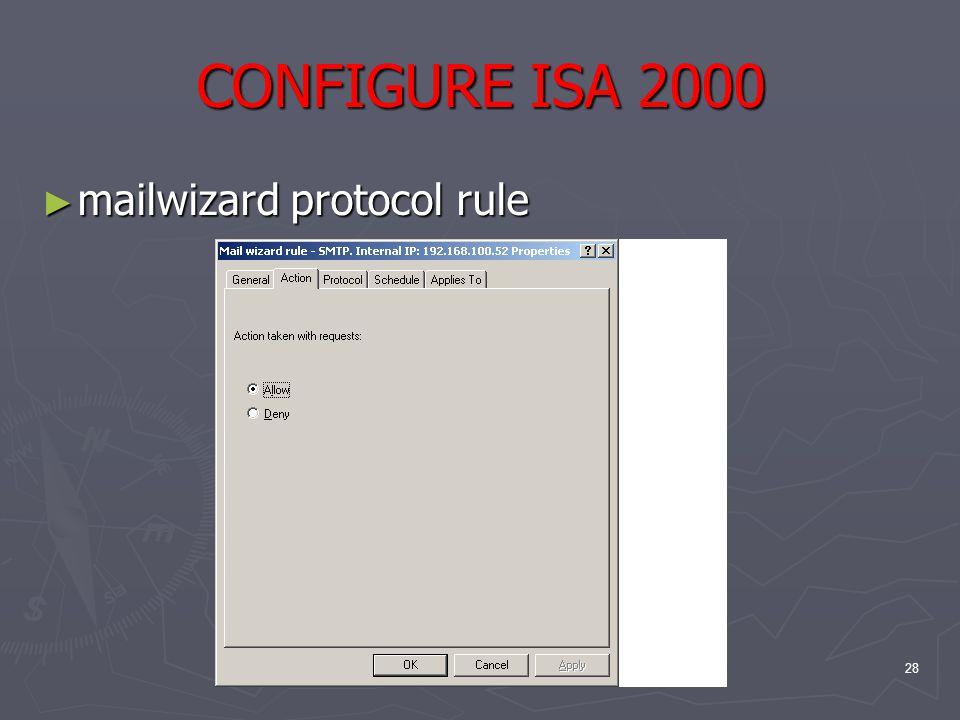 28 CONFIGURE ISA 2000 ► mailwizard protocol rule