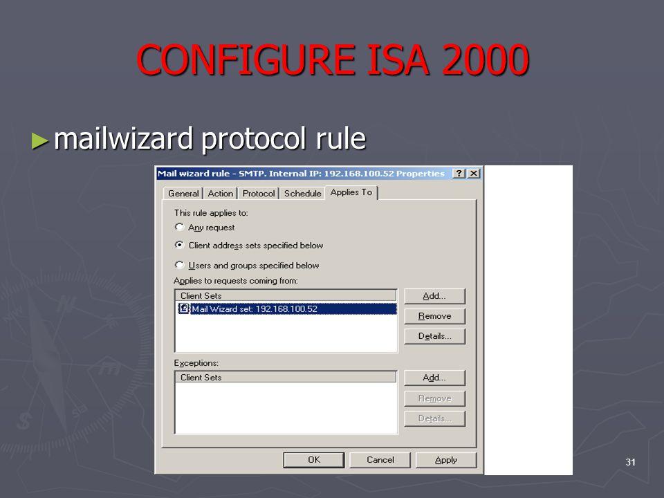 31 CONFIGURE ISA 2000 ► mailwizard protocol rule