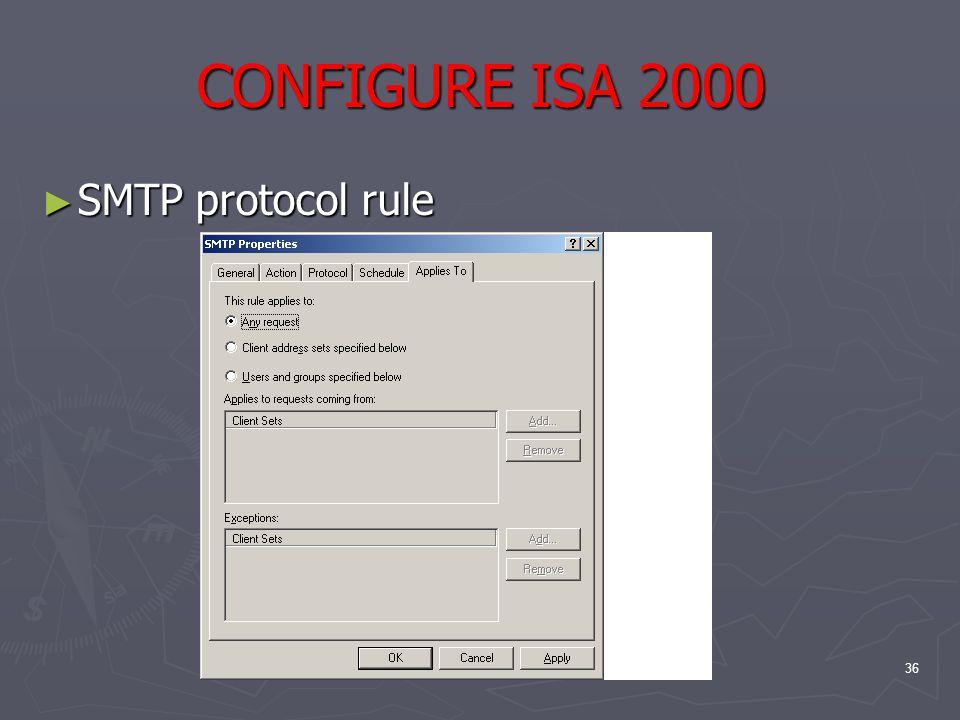 36 CONFIGURE ISA 2000 ► SMTP protocol rule