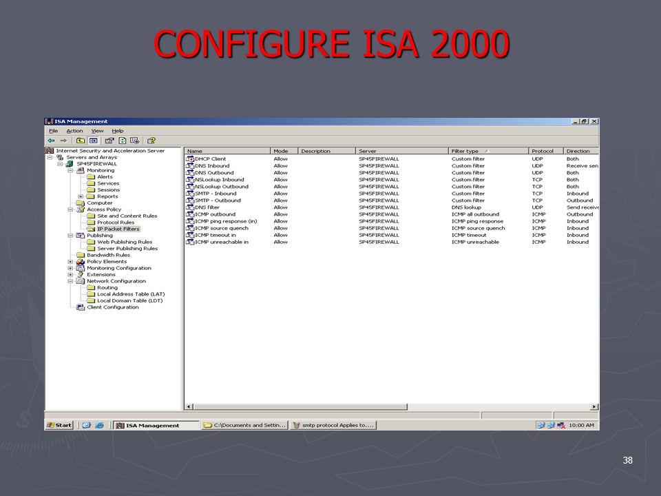 38 CONFIGURE ISA 2000
