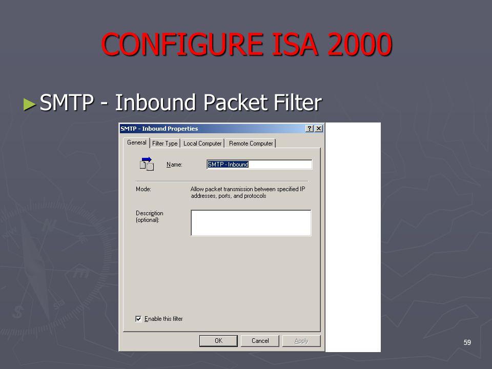 59 CONFIGURE ISA 2000 ► SMTP - Inbound Packet Filter