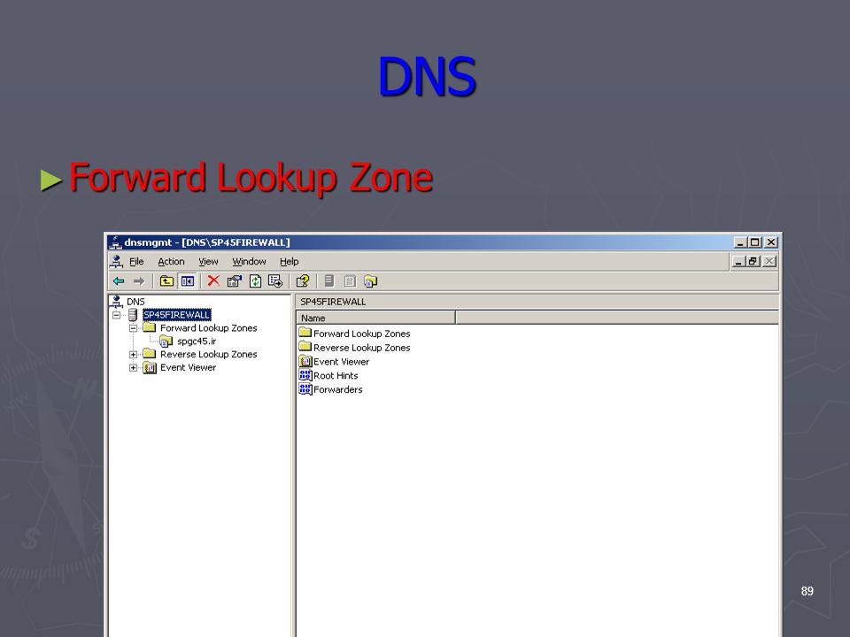 89 DNS ► Forward Lookup Zone
