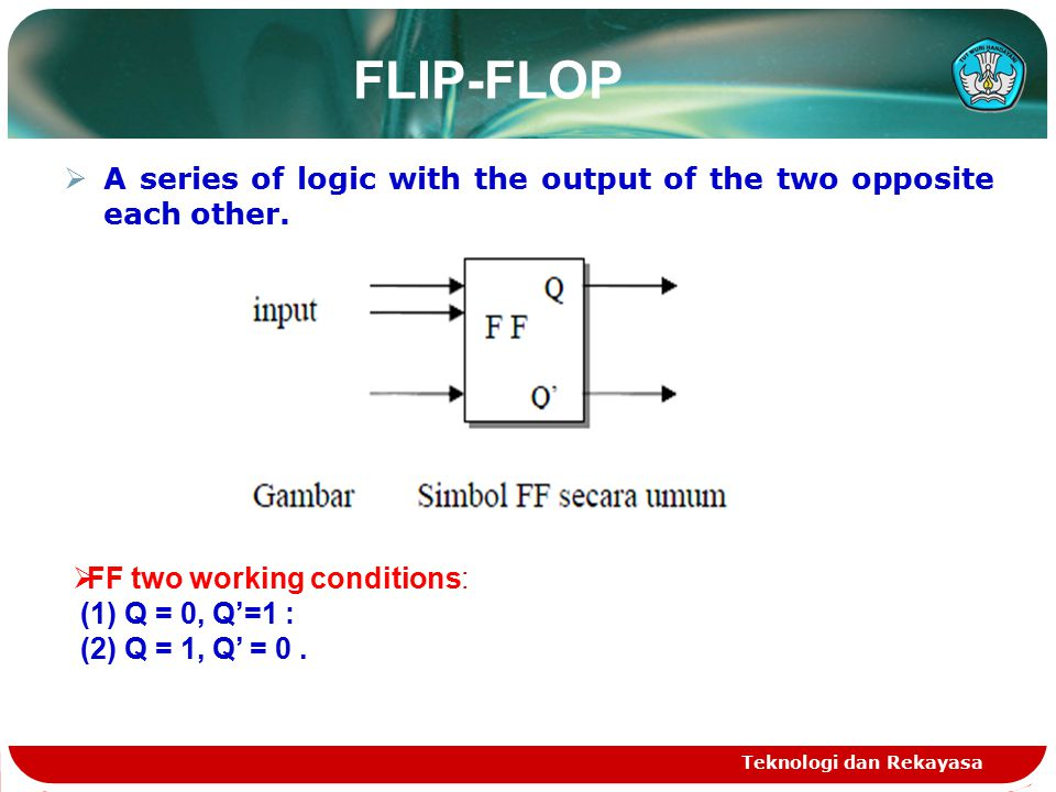 FLIP-FLOP TYPES: 1.RS FLIP-FLOP Teknologi dan Rekayasa RS-FF arranger by NAND gate S BQQ Description 0011 Restricted 0110 Set 1110 Stabil I 1001 Reset 1101 Stabil II 0011 Restricted 11 QnQn QnQn Memory condition Truth Table: