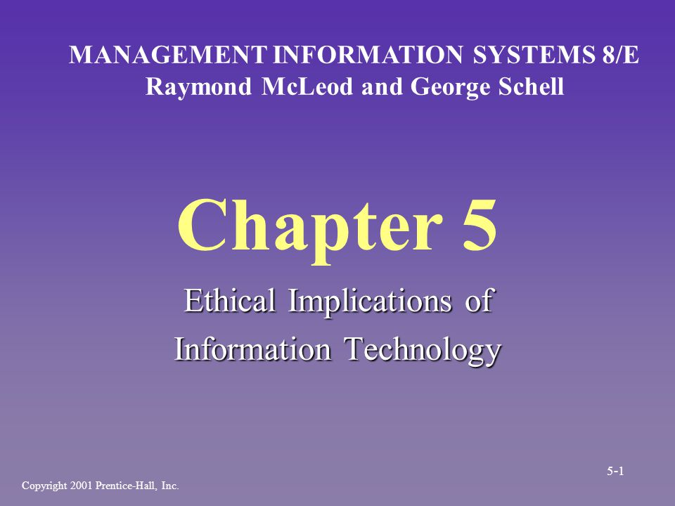 Summary [cont.] n Society places importance on computer ethics –Logical malleability –Transforming ways of living –Processes are hidden from view n Societal rights in relation to the computer 5-32