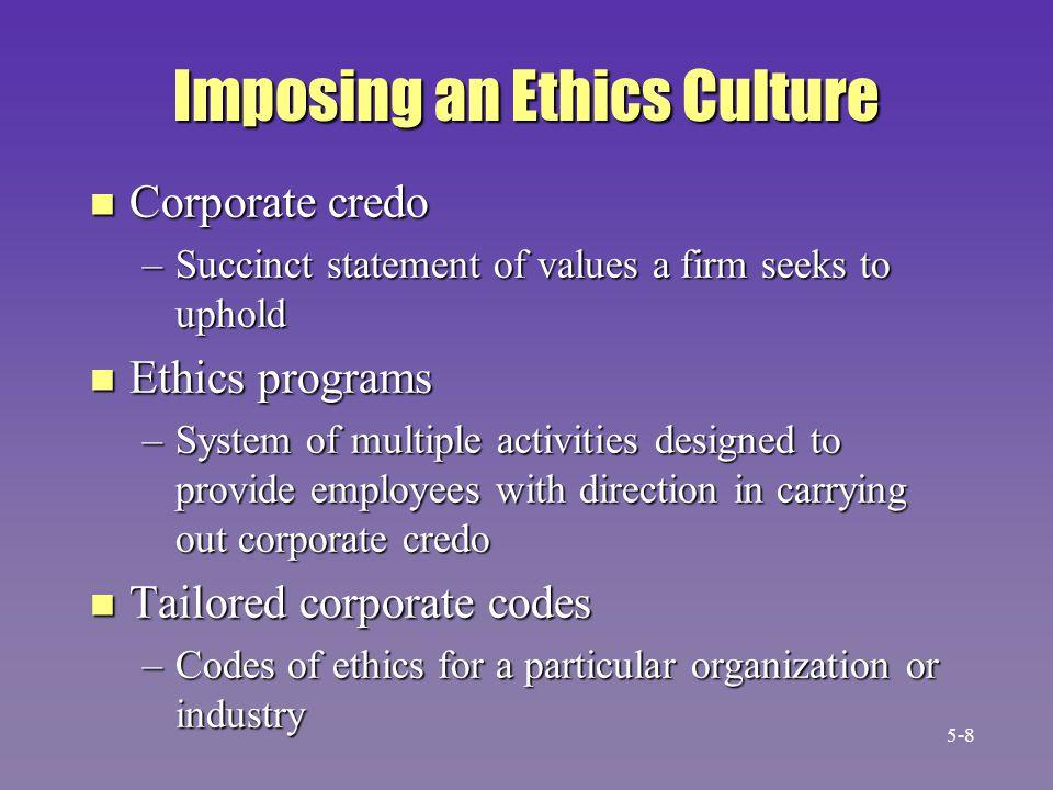 2.Establish ethics programs 3. Establish corporate ethics code 1.