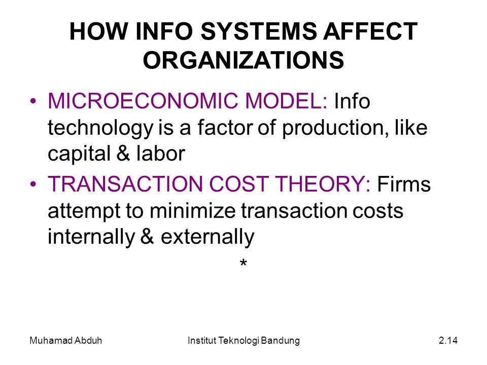 Muhamad AbduhInstitut Teknologi Bandung2.14 HOW INFO SYSTEMS AFFECT ORGANIZATIONS MICROECONOMIC MODEL: Info technology is a factor of production, like capital & labor TRANSACTION COST THEORY: Firms attempt to minimize transaction costs internally & externally *
