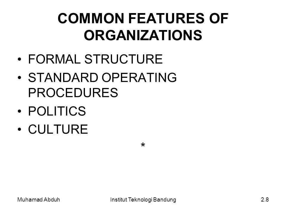 Muhamad AbduhInstitut Teknologi Bandung2.8 COMMON FEATURES OF ORGANIZATIONS FORMAL STRUCTURE STANDARD OPERATING PROCEDURES POLITICS CULTURE *