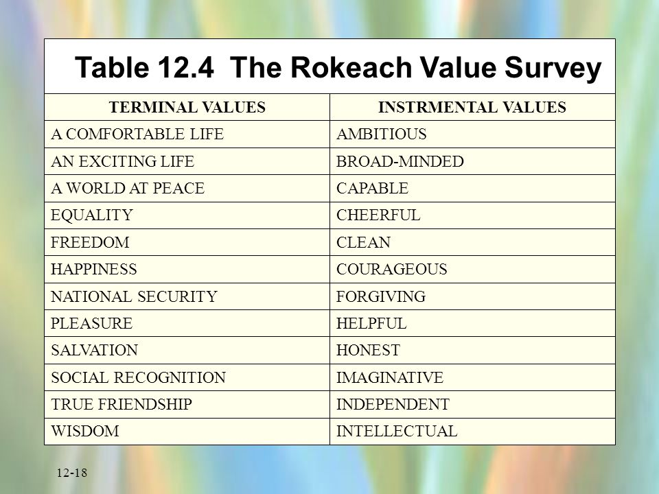 12-18 Table 12.4 The Rokeach Value Survey TERMINAL VALUESINSTRMENTAL VALUES A COMFORTABLE LIFEAMBITIOUS AN EXCITING LIFEBROAD-MINDED A WORLD AT PEACECAPABLE EQUALITYCHEERFUL FREEDOMCLEAN HAPPINESSCOURAGEOUS NATIONAL SECURITYFORGIVING PLEASUREHELPFUL SALVATIONHONEST SOCIAL RECOGNITIONIMAGINATIVE TRUE FRIENDSHIPINDEPENDENT WISDOMINTELLECTUAL